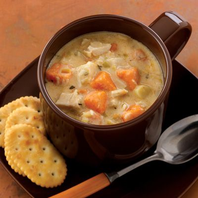 CHICKEN & SWEET POTATO CHOWDER... THIS IS MY FAVORITE SOUP RECIPE! I MAKE IT AFTER HAVING LEFTOVERS FROM A ROTISSERIE CHICKEN... SO GOOD!