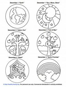 Free printouts to color and make your own Jesse Tree.