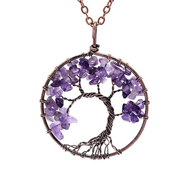 Amazon.com: Tumbled Raw Natural Stone Root Family Copper Tree of life Amethyst Amthyest Pendant Necklace Healing Vintage Wisdom Purple Birthstone February Gemstone Wire Wrapped Necklace Gifts for Women: Jewelry