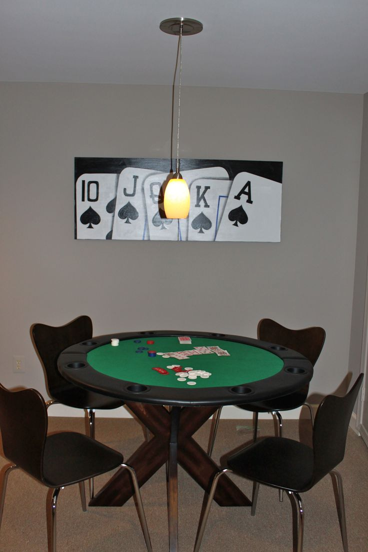 poker table for boys - commissioned art -   table top folds up leaving room to eat, pendant screws into any canned light, mcubed interiors
