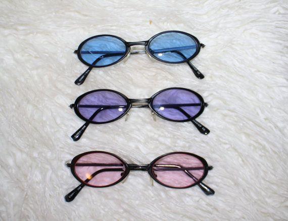 90s oval sunglasses blue/purple/pink lenses