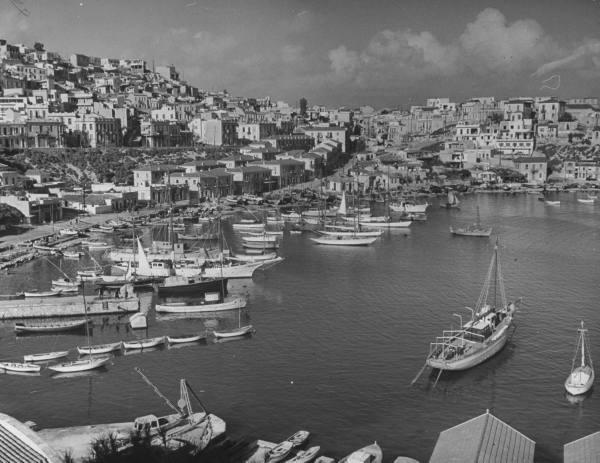 Ships docking in harbor.Location:Pireaus, Greece Date taken:1948 Photographer:Dmitri Kessel