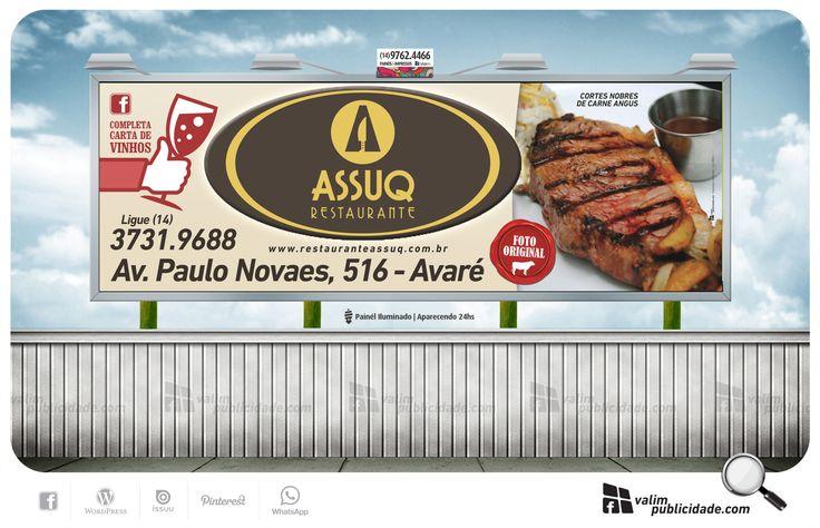 Criação, impressão de lona e exibição em painél iluminado em Avaré para Restaurante Assuq | Av. Paulo Novaes, 516 | Avaré - SP - Brasil | Tel (014) 3731.9688 | www.restauranteassuq.com.br #assuq #avare #restaurante #parrilla #brasil #valim #painel
