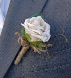 Artificial Champagne Mocha Foam Rose Wedding Guest Buttonhole with Natural Twine Bow and Brown Twig