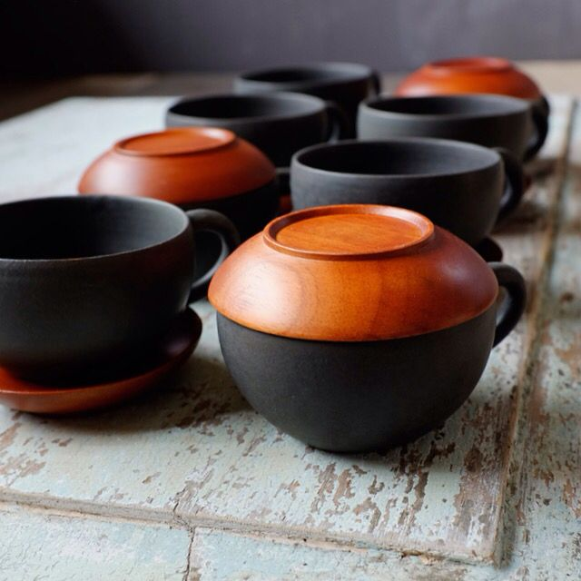 Handmade Black Ash tea cups ceramic (Mahogany wood saucer), mix with heart of volcano island ash and clay only at #perajin