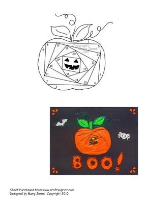 Halloween Pumpkin Iris Folding Pattern on Craftsuprint designed by Margaret Jones - A scary (not really) pumpkin pattern for your Halloween cards. - Now available for download!