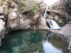 Beautiful clear water at Fairy Pools.  Be prepared to hike to see these beauties.