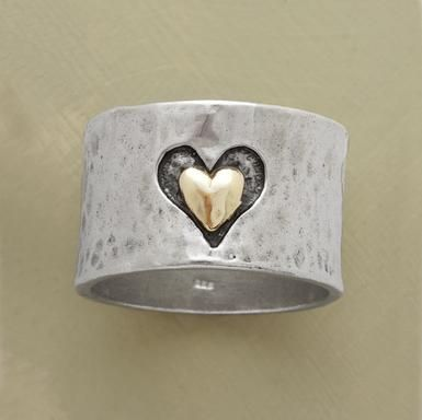 "Marrying precious metals and textures, a heart hand cast into our 1/2"" wide hammered sterling silver band frames another of smoothly finished 14kt gold. A Sundance exclusive in whole and half sizes 5 to 9-1/2.: Heart Rings, Soul Rings, Sterling Silver, Metals Art, Silver Band, Jewelry, Wedding Rings, Heart Hands, Silver Rings"