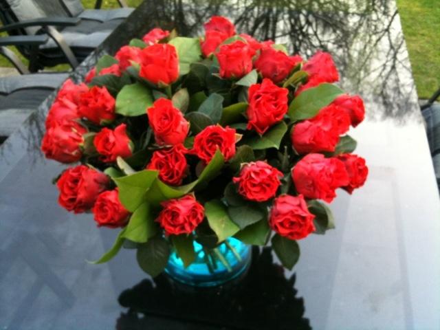 Prachtige bos rode rozen (40) voor mijn verjaardag van manlief