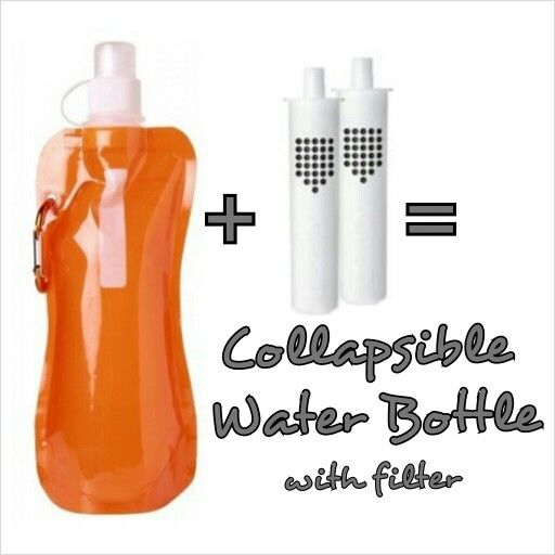 Buy a collapsible/foldable water bottle from 99cents only or any Dollar store and a Brita water filter for soft-side water bottles ($7.99).  Follow directions on clean/rinse for pieces.  Now you can have filtered water anywhere you want plus the bottle is compact and can be folded into a small place or use the attached carabiner.   Less bulk.   Total=$8.99 for 1 bottle plus extra filter.  OR 2 bottles for $9.99. Cheaper than the one being sold online for about $13+s/h for 1. #hack #diy…