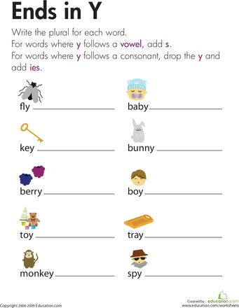 Change Nouns Ending In Y To Ies Education Pinterest Worksheets