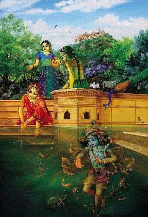 """""""O restless-eyed girl, Your lake is the eternal home of You and Your beloved. My residence is there. There I stay."""" -Raghunatha das Goswami"""