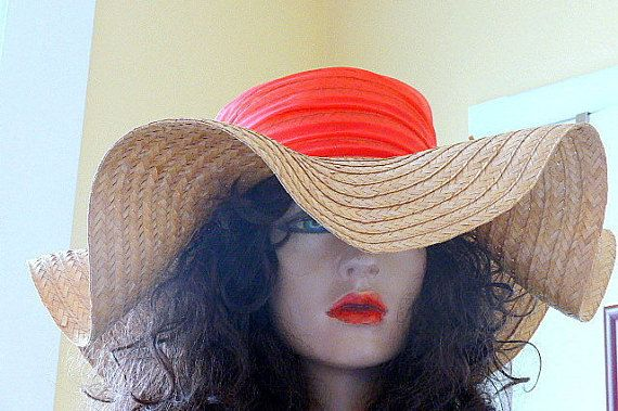 1960'S Wide Brimmed Straw Sun Hat
