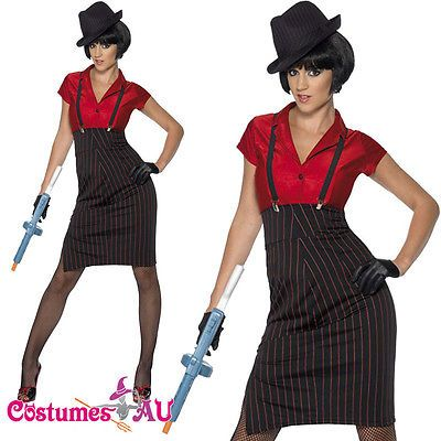 Womens 1920s 20s Gangster Costume Ladies Smiffys Chicago Flapper Era Fancy Dress in Clothing, Shoes, Accessories, Costumes, Women's Costumes   eBay