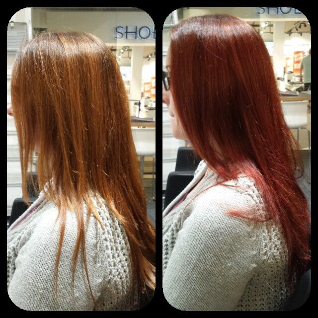 Fra blass kobber til en mer dypere rød farge. :)