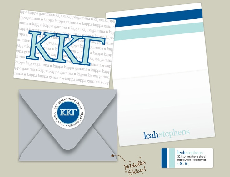 The ultimate sorority girl pack!! Calling out my Kappa girls to get on EC's new collection of KKG folded note cards, mailing envelopes, and return address labels. So practical AND so cute!! Enjoy, key sis!!! <3