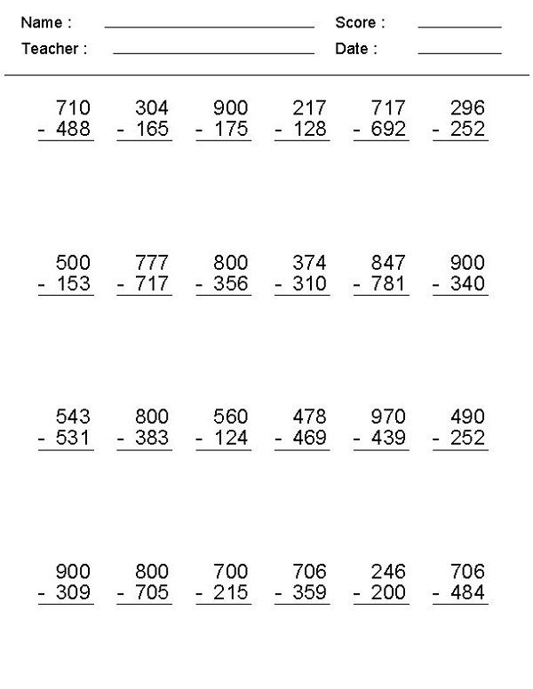 Math Problems Online Subtraction Worksheets Addition And Subtraction Worksheets Math Subtraction Regrouping subtraction worksheets 3rd grade
