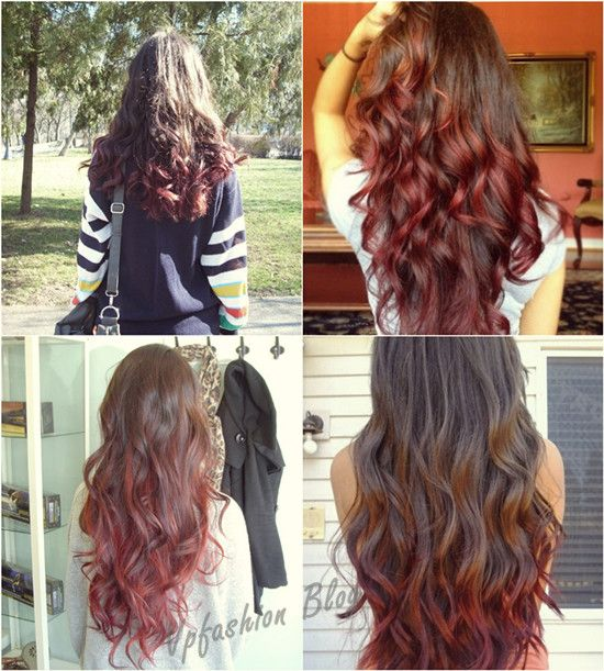 It is trend brown and red ombre hair color. You can check