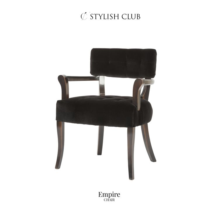 The refined design presents a classic contemporary form, a curved backrest, tapering curved legs and armrests.