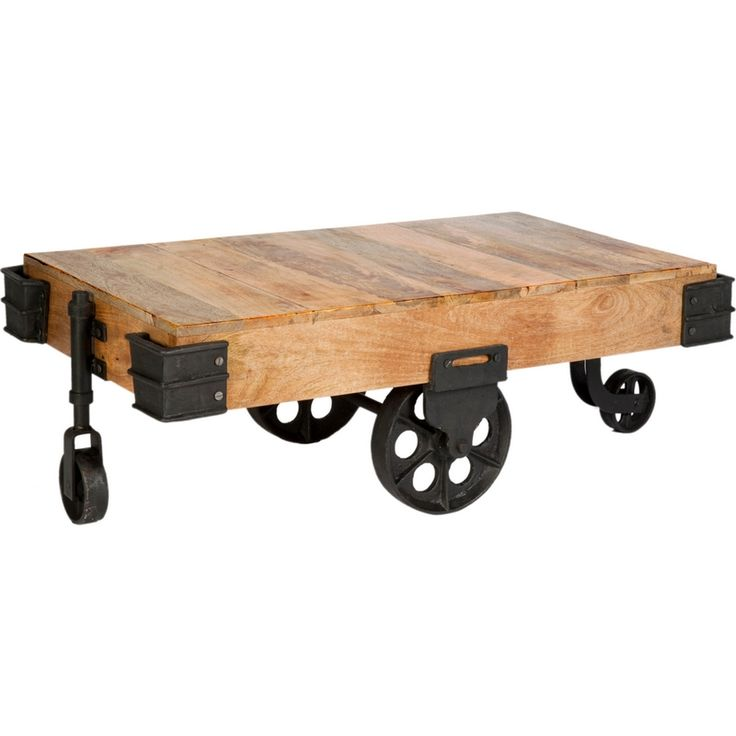 Industrial Collection Coffee Table In Iron Natural Hardwood W Wheels By Cdi International