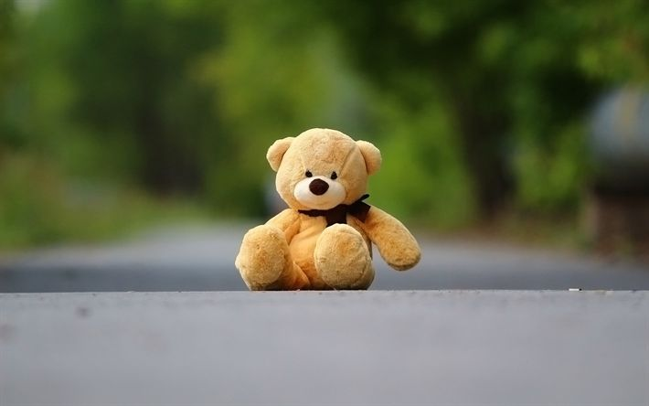 Download wallpapers Teddy bear, road, cute toys, orange bear