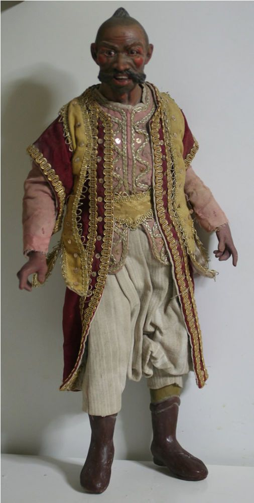 "19th Antique Italian Neapolitan Oriental Creche Doll   Glass Eyes  18 2/5"""