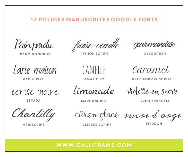 12 google fonts manuscrites à utiliser sur votre site ou blog ou sur vos cartes à imprimer! A épingler!