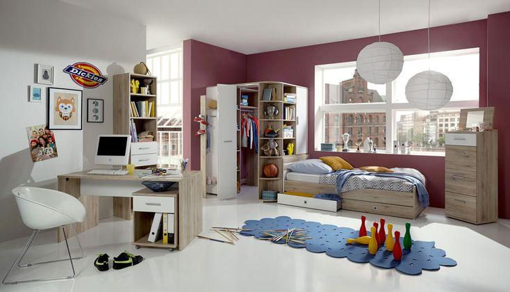 5-tlg. Jugendzimmer in alpinweiß, mit Eckschrank B:124 cm, Bett 90x200 cm, Ausziehliege B:90 cm, Schreibtisch B: 140 cm u. Rollcontainer B: 46 cm