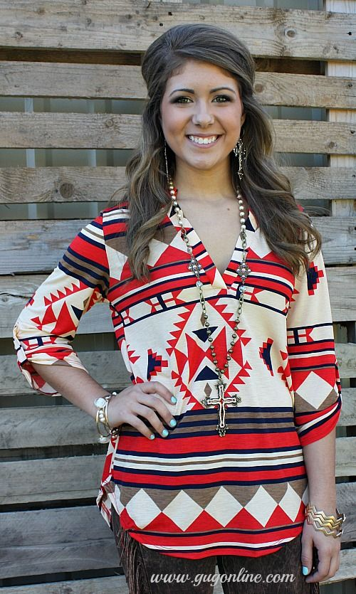 Take A Stand Red, Tan and Navy Aztec Blouse $32.95 Small-Large  www.gugonline.com
