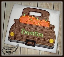 Pumpkin Truck Applique - 5 Sizes! | Fall | Machine Embroidery Designs | SWAKembroidery.com Beau Mitchell Boutique