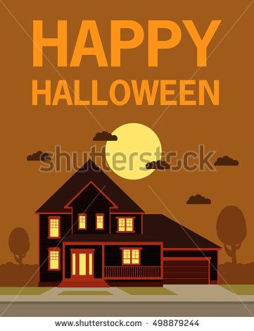 Happy Halloween. A vector flat style with the text and the house with the moon and clouds. The leaflet, a banner, a poster, for the holiday Halloween.the house with ghosts
