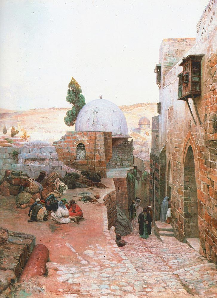 A quiet little neighborhood in Jerusalem, mid 1800s.  Artist:  Gustav Bauernfeind.