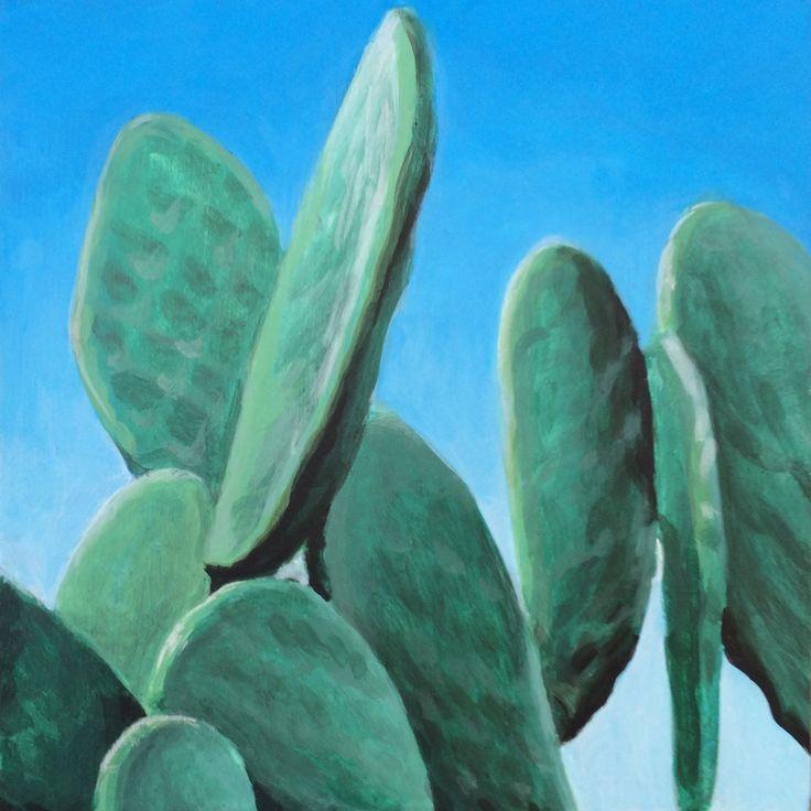 MGRey — Chumbera Prickly per Acrylic on wood 15 x 15cm.