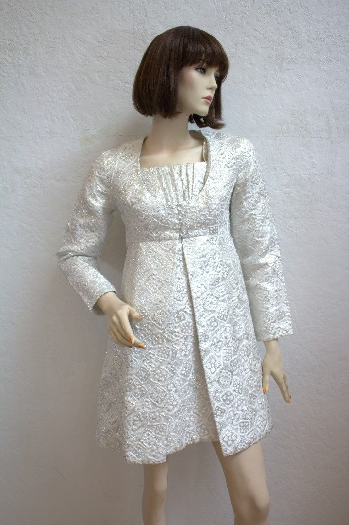 6834bc3113ae 1960's Silver Metallic Brocade Empire Dress and Matching Coat / Mini Dress  and Jacket Set / Size: 32