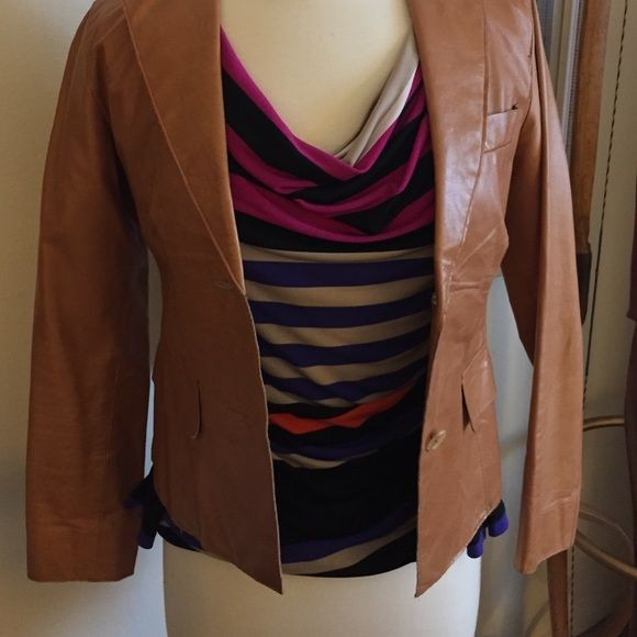 Camel Colored 100 Leather Blazer Beautiful Color Goes With