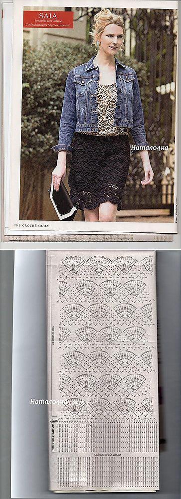 Черная юбочка крючком. | платья, юбки | Постила