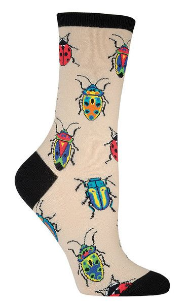 Did you know that one out of every four animals on Earth is a beetle? These crew length colorful beetles socks are available in purple, green, or beige. Fits women's shoe size 5-10.