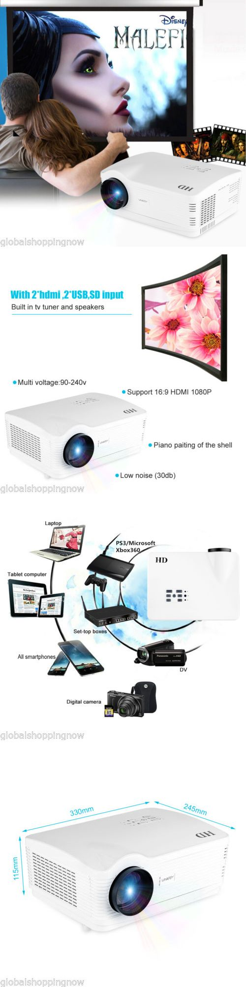 Home Theater Projectors: Wifi 5000 Lumens 3D Projector Full Hd 1080P Led Home Theater Av Vga Tv Usb Hdmi -> BUY IT NOW ONLY: $229.99 on eBay!
