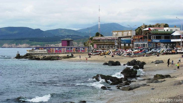 Horcón's main beach. This small fishing village north of Viña del Mar is a cluster of colourful rickety houses build on a hill.