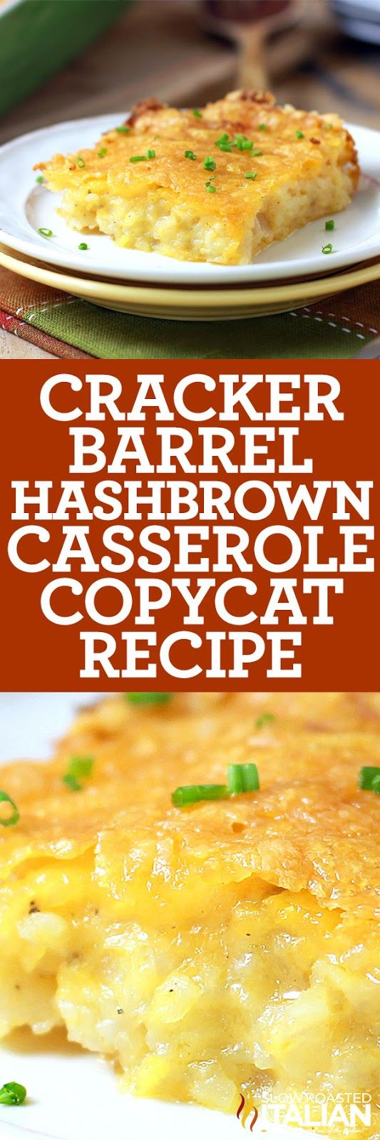 Cracker Barrel Copycat Hash Brown Casserole is ready to go in the oven in a snap.  This recipe all starts with homemade soup and ends with a heap of cheese.  It doesn't get better than that!