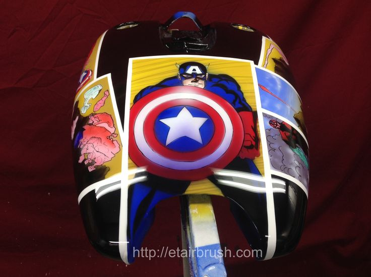 Custom airbrushed Captain America Theme bike with House of Kolor paint and clear. #airbrush #airbrushing #custompainting #choppers #airbrushart #pinstripe #pinstriping #freehandlettering #custommotorcyclehelmet #metalflake #truefire #custommotorcycle #coolmotorcyclehelmets #chopper #motorcycles #portraits