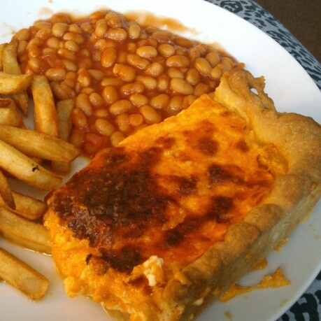 Homemade school cheese pie! 12oz cheese (340g), half pint milk, 2 eggs in shortcrust pastry! Serves 4-8 depending on portion sizes!