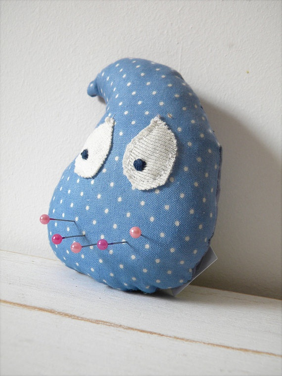 Raindrop Baby blue polka dot toy dollpincushioncat by coccinellina, $9.00