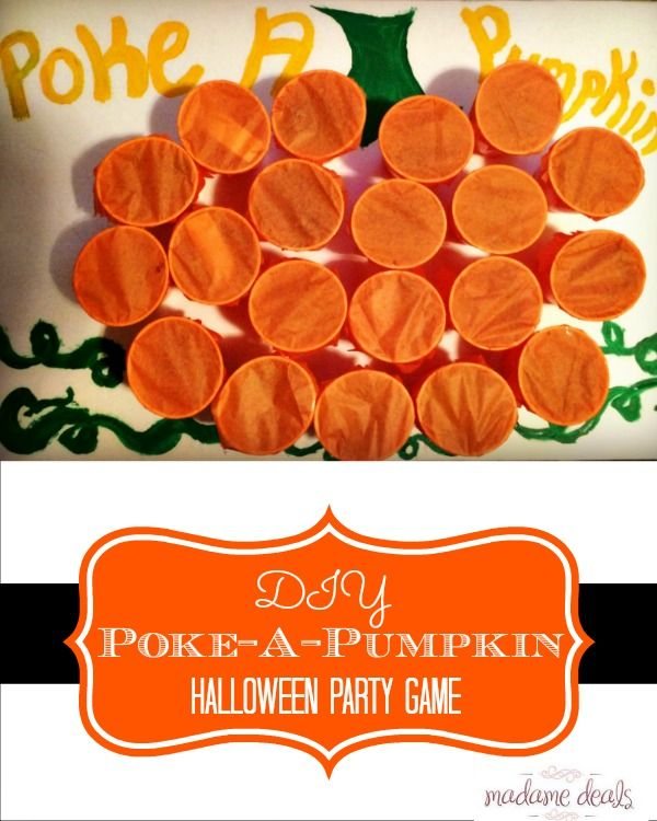 Fun halloween party game for the kids called Poke-a-Pumpkin. It's safer (and easier to clean up) than a pinata and still just as fun!