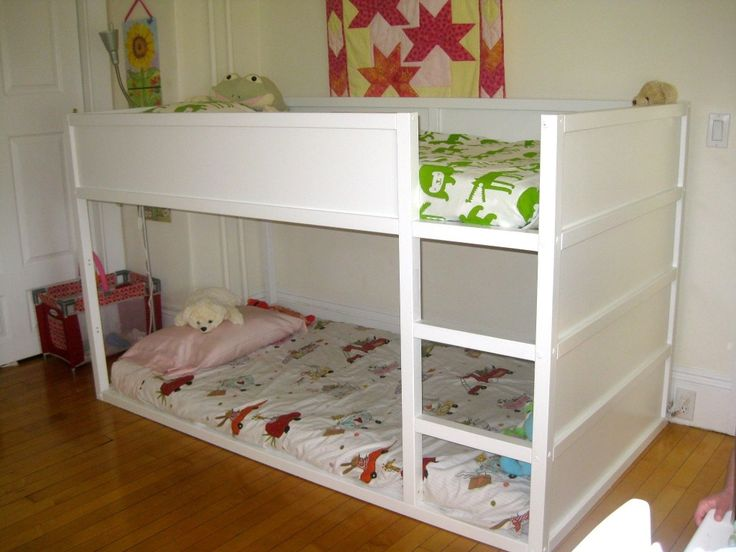 purchased the kura kids bed from ikea this is a great idea to paint the wood rails white. Black Bedroom Furniture Sets. Home Design Ideas
