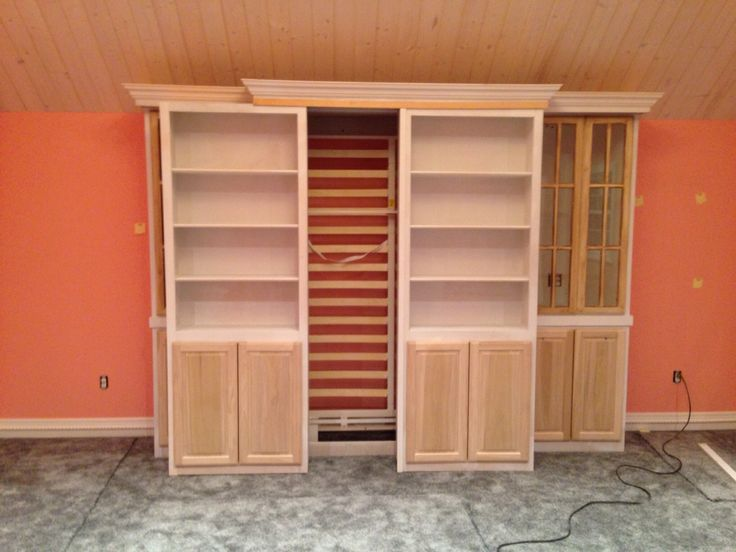Sliding Bookcase Murphy Bed Diy Furniture Home Murphy Bed