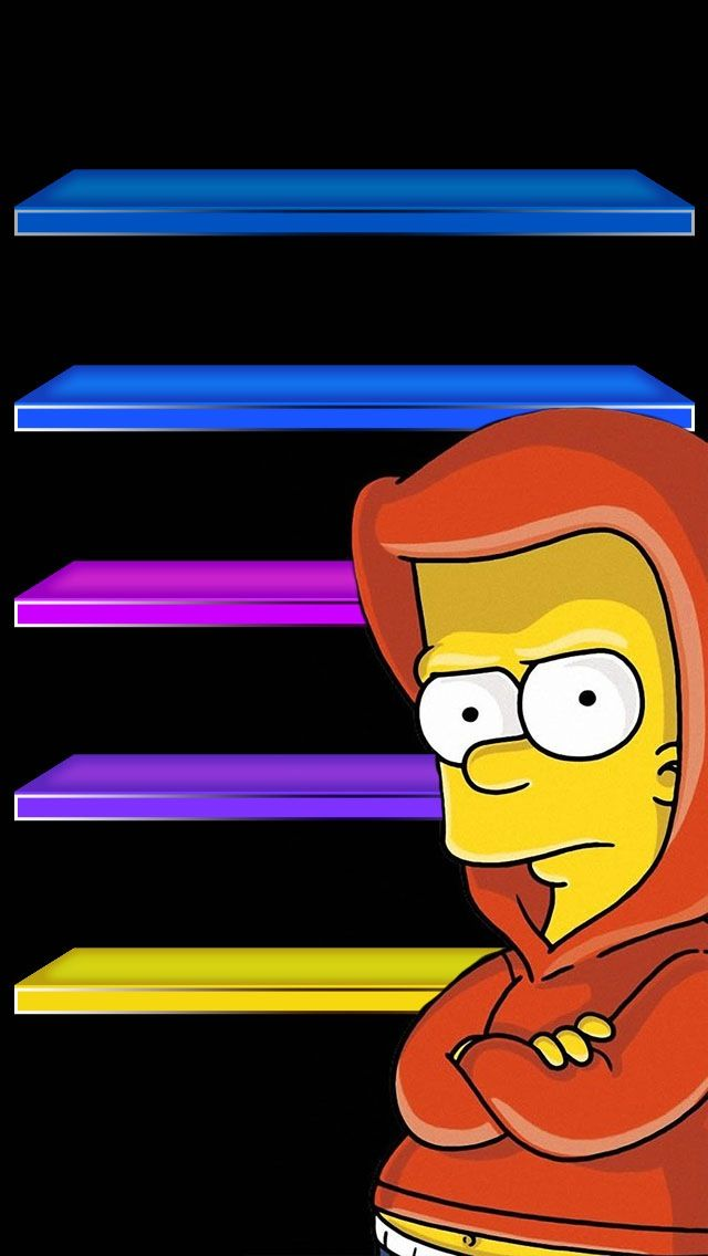 !!TAP AND GET THE FREE APP! Shelves Homescreens Cartoons Colorful Black  Simpsons Bart Funny HD iPhone 5 Wallpaper