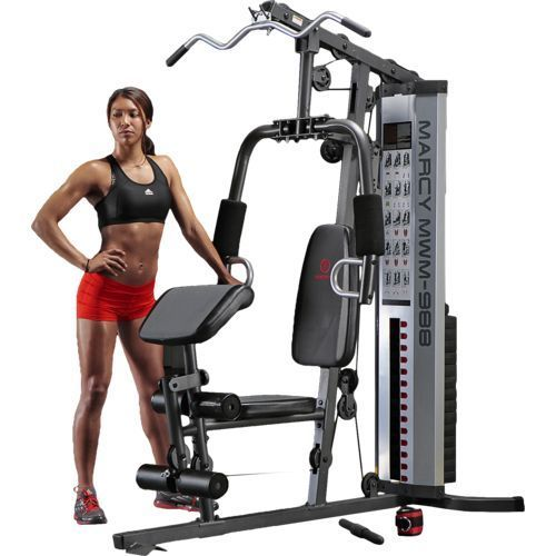The Marcy MWM-988 150 lb. Stack Home Gym features an independent-motion press arm/vertical butterfly station and a high and low pulley system.