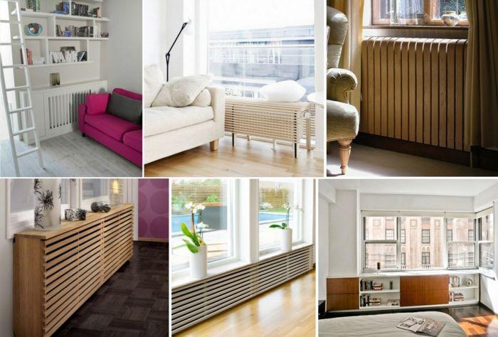 Heizkörper Verkleidung Wohnzimmer weiß Holzbohlen Holzplatten Kommode Sideboard   – Wohnideen