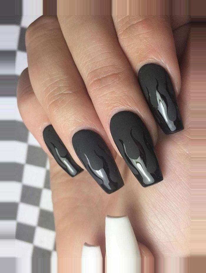 Art Black Black Nails Designs Nails Spring Black Nails Art Designs For 2020 Spring Best Picture For Nails 2020 In 2020 Edgy Nails Fire Nails Coffin Nails Designs